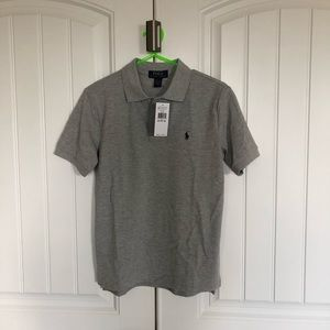 Boys grey polo with navy horse new with tags